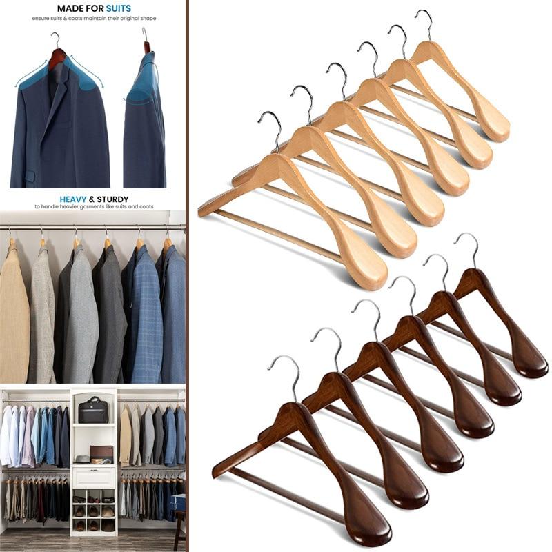Nouvellement 6 pièces Large Épaule Cintres En Bois avec Antidérapant Barre De Pantalon pour Manteau Vêtements Costume TE889