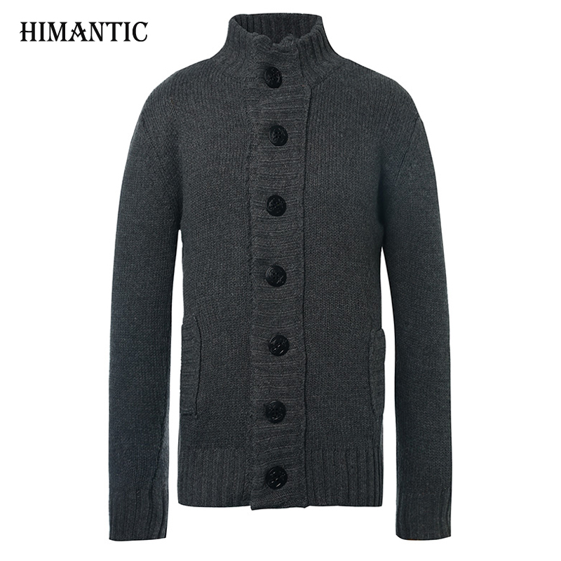 Brand New Winter Spring Sweater Men Thick Cotton Full Sleeves Mandarin Collar Solid Cardigans Mens Outwear