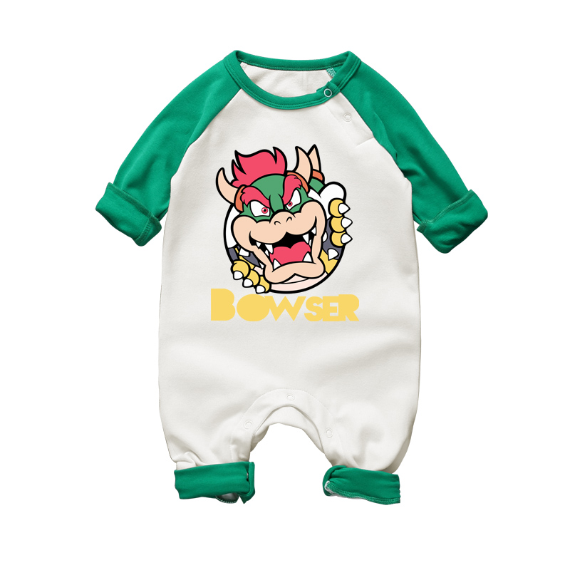 Cartoon Mario Bowser Baby Rompers Long Sleeve Boy Girl Clothing Jumpsuits Children Autumn Winter Clothing Newborn Baby Clothes(China)