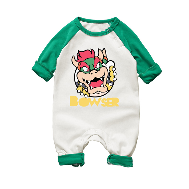 d9f3a1a1f Cartoon Mario Bowser Baby Rompers Long Sleeve Boy Girl Clothing ...