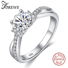 FOREWE 2019 Luxury AAA Cubic Zirconia Wedding Engagement Ring 100% 925 Sterling Sliver Shining Finger Rings for Women Jewelry
