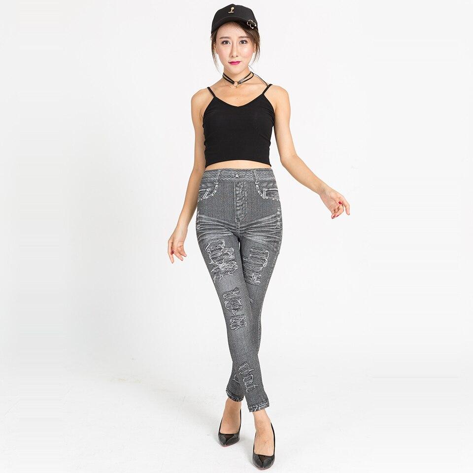 Fashion Women 2018 Summer Autumn Womens Print Leggings Simulated Pockets and Holes Jeans Fitness Womens Leggings Denim Legging