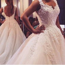 Ball Gown Wedding Dress 2017 Sweetheart Neckline Backless Appliques Wedding Gown Sequins Sleeveless Bridal Dresses
