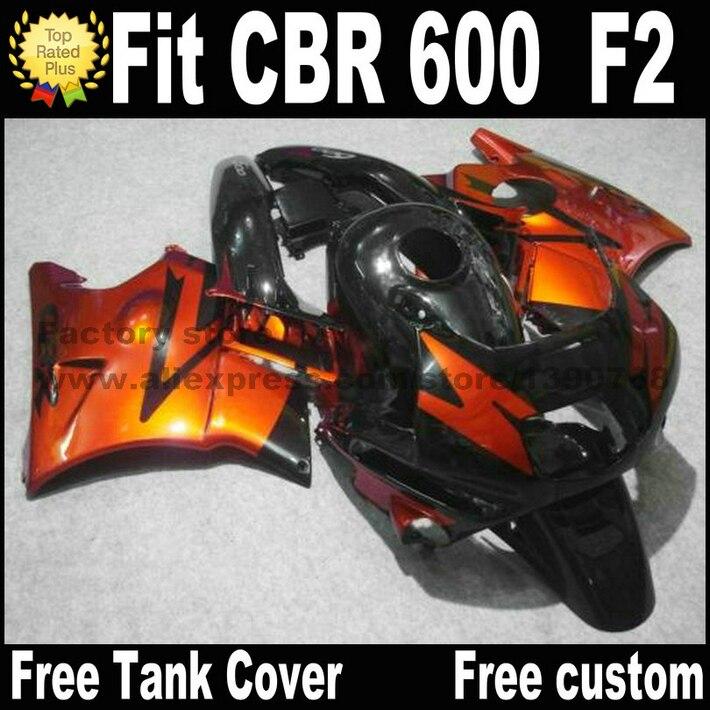 Plastic fit for HONDA CBR 600 F2 fairing kit 1991 1992 1993 1994 fairings black brown  CBR600 91 92 93 94 CV45