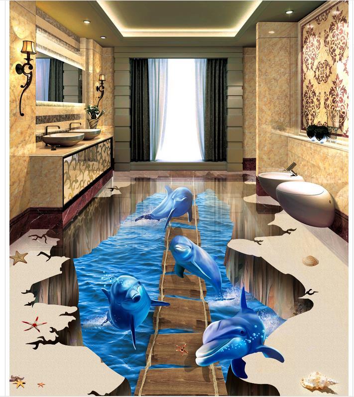 Wallpaper floor mural 3D stereoscopic wallpaper floor self-adhesive 3D floor   PVC waterproof floor Home Decoration see through midi lace dress