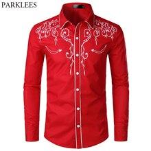 قميص سهرة أحمر مطرز بالزهور للرجال لعام 2019 قميص رجالي ضيق بأكمام طويلة مناسب لحفلات الزفاف