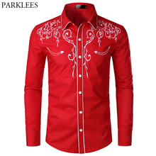 Bloemen Borduren Red Tuxedo Shirt Mannelijke 2019 Merk Slanke Lange Mouw Heren Dress Shirts Chemise Homme Wedding Party Shirt voor mannen