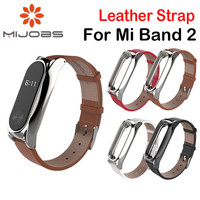 Mijobs Leather Strap cinturino xiaomi mi band 2 Bracelet with Stainless Stell Metal Frame For xiaomi mi band 2 Accessories