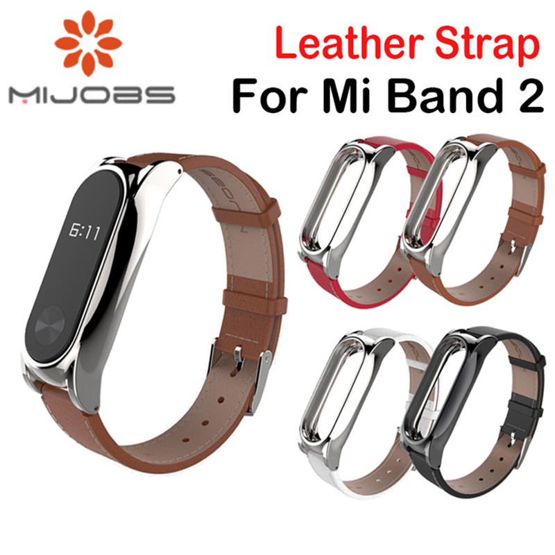 Mijobs Leather Strap for xiaomi mi band 2 Bracelet with Stainless Stell Metal Frame For xiaomi mi band 2 Accessories miband 2