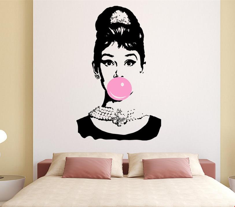 Audrey Hepburn Bubble Gum Beauty Hair Salon Wall Decal Sticker Art Vinyl Home Decor Wall Sticker Inteior Mural YO 132 in Wall Stickers from Home Garden