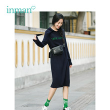 INMAN 2019 Spring Autumn New Arrival Female Hooded Drawstring Embroidery Long Sleeve Knitting Sweater(China)