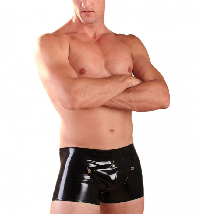 Keyhole Latex Boxers With Detachable Pouch Latex Mens Codpiece Shorts Panties 0.6MM Thickness Latex Underwears
