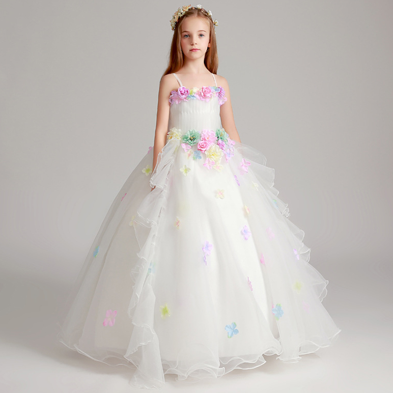 1-12 Years Handmade Flower Girl Dress White Princess Dress Tulle Birthday Party Gown Floral Ball Gown Kids Pageant Gowns AA39