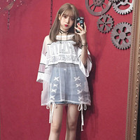 Summer Female BF Goth Girls Harajuku Black Punk See Through Blouses Rock Style Letter Tumblr Fashion