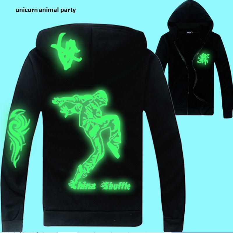 Klær frakkjakke tilbake lysende menn og kvinner hip-hop dansende hetter løse jakke menneskelige bein, skjelett, tegneserie, dragejakke