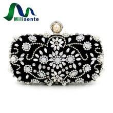 Vintage Perle Hochzeit Geldbörse Weiß Diamant Tasche Schwarz Perlen Kupplungen Kleine Frauen Handtaschen Mädchen Partei Taschen Lady Abend-handtasche