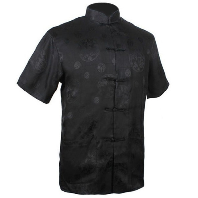 Dos homens Negros novos Rayon Camisa De Cetim Top Clássico Chinês Kung Fu clothing curto-manga vintage da moda tang terno s m l xl xxl XXXL