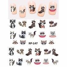 Искусство ногтей Красота наклейка на ногти водная наклейка слайдер мультфильм животное кенгуру енот кошка Рождественский Ежик RP145-150