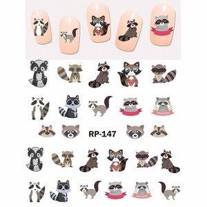 Image 1 - נייל אמנות יופי נייל מדבקת מים מדבקות מחוון קריקטורה בעלי החיים קנגורו דביבון חתול חג המולד קיפוד RP145 150
