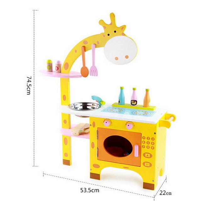 New Arrival Children Play House Wooden Giraffe House Cooking Kitchen