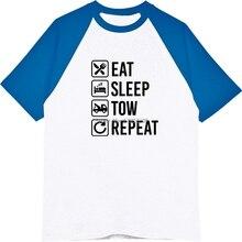 3f34b5eb2 demlfen Tow Truck Eat Sleep Repeat Summer Raglan Sleeve T Shirt Men Hip Hop  T-Shirts