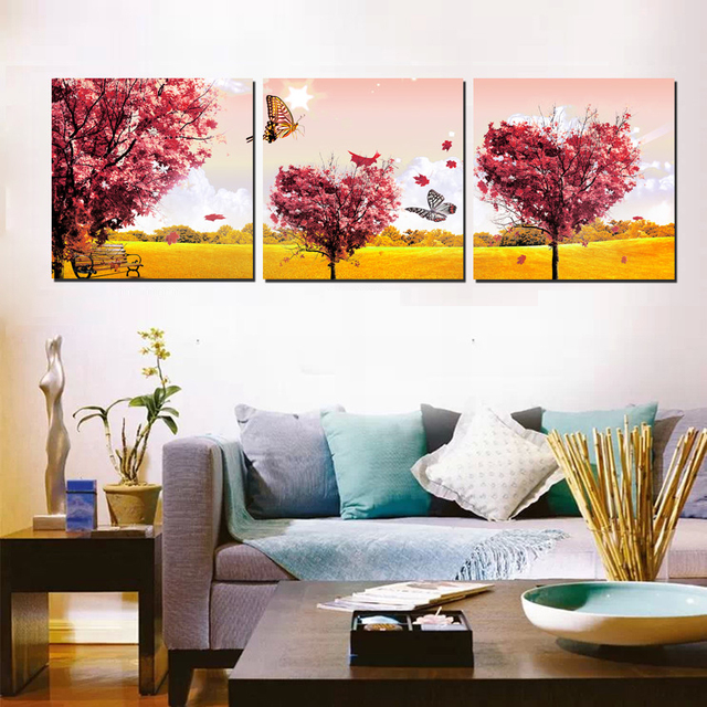 Triptych Canvas Art 3 Piece Red Heart Trees Romantic Scene Wall Printed Painting  For Bedroom Decoration Wall Decor Pict No FrameAliExpress Mobile   Global Online Shopping for Apparel  Phones  . Painting For Bedroom. Home Design Ideas
