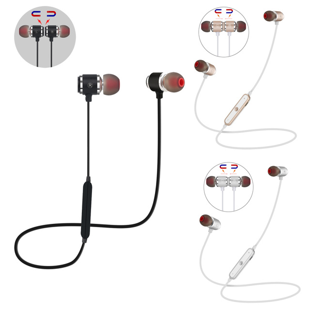 QAIXAG New wireless Bluetooth headset sports magnetic Bluetooth headset in ear for all mobile phones with Bluetooth