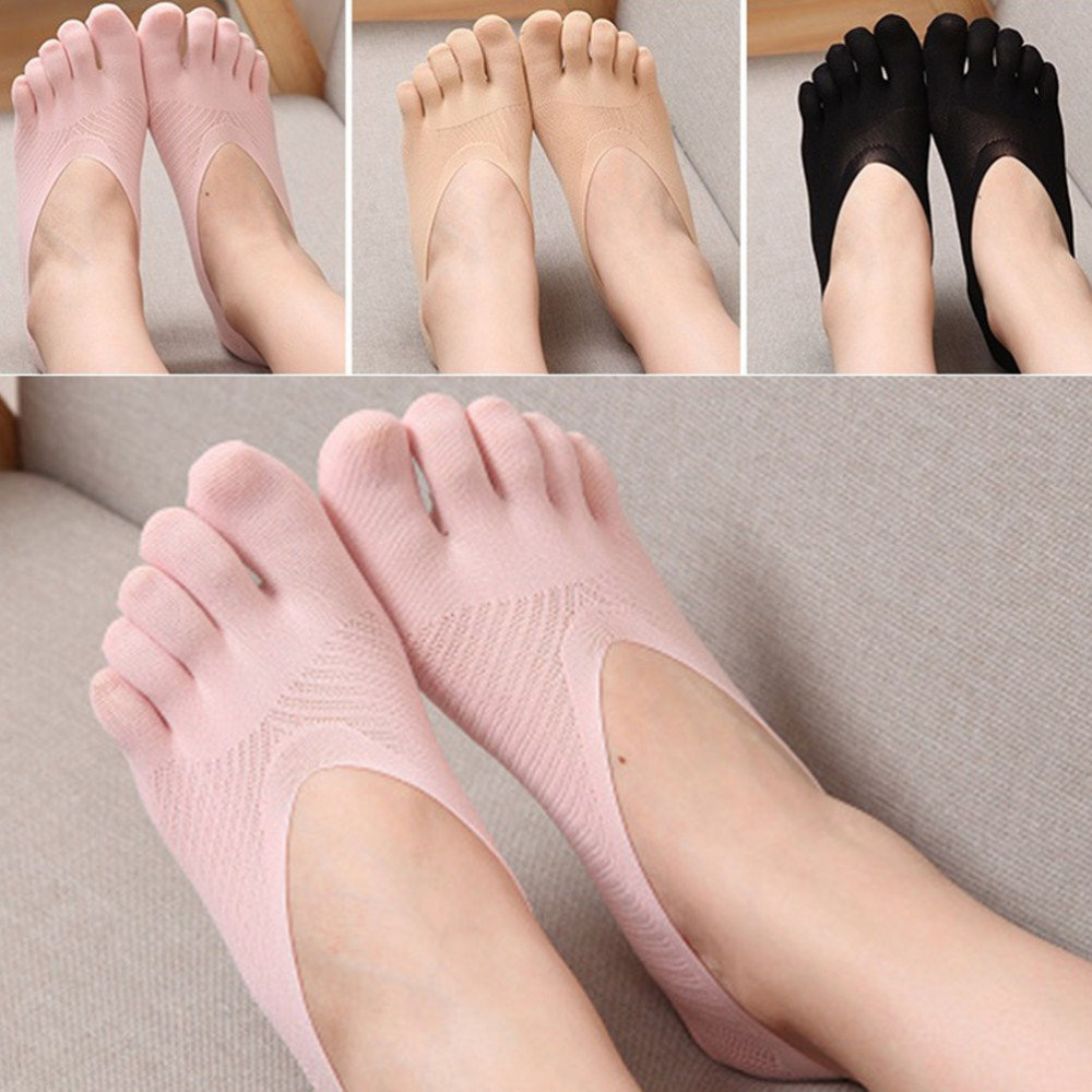 Women Low Cut Five Finger Toe Socks Invisible Socks Sock Slippers Shallow Mouth Summer Sock Solid Color Lace Antiskid