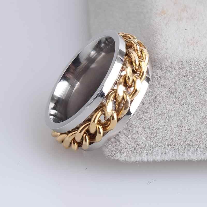 8mm płyta złoty kolor srebrny łańcuch 316l ze stali nierdzewnej pierścienie palców dla mężczyzn kobiet w sprzedaży hurtowej