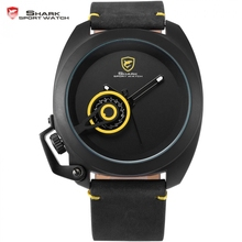 Hot Tawny Shark Sport Watch Men Yellow Special Date Classic Leather Band Militar