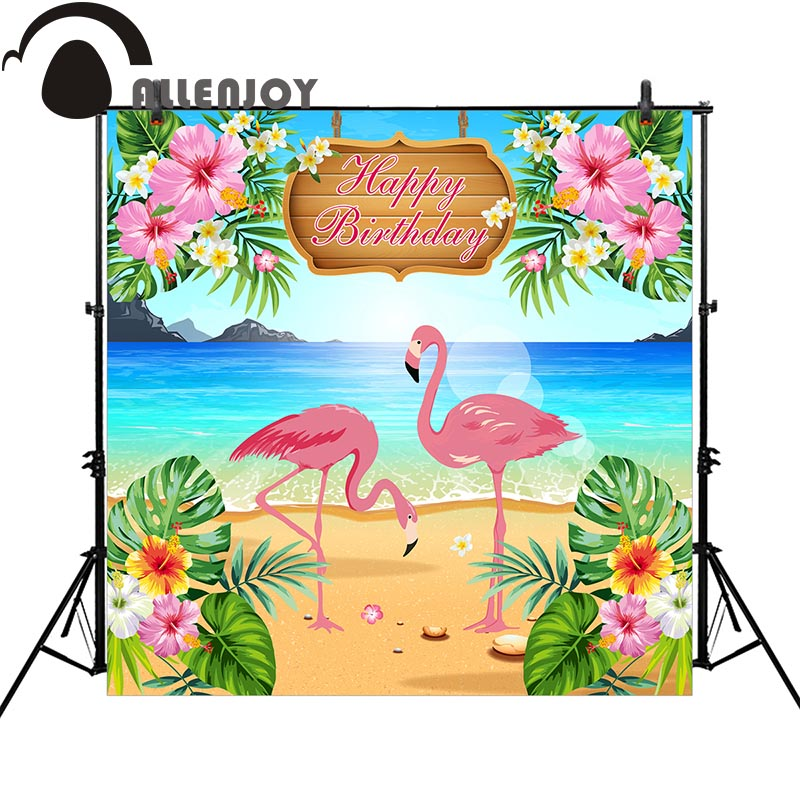 Allenjoy Flamingo beach photography backdrop new cartoon colorful birthday party banner children background photobooth photocall allenjoy background photography pink birthday table flower cake wood backdrop photocall photobooth photo studio