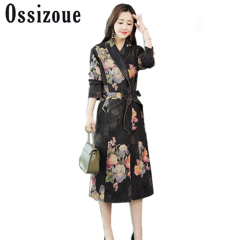 2018   Trench   Coat Women Windbreaker Printed Floral Long Suede Outwear Female with Belt Slim Autumn Long Sleeve Elegant Overcoat