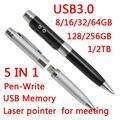 Venta caliente 8 GB 16 GB 32 GB USB 3,0 Flash Drive 64 GB 5in1 de moda de Metal Mini clave pendrive 1 TB 2 TB de memoria Flash, tarjeta de regalo