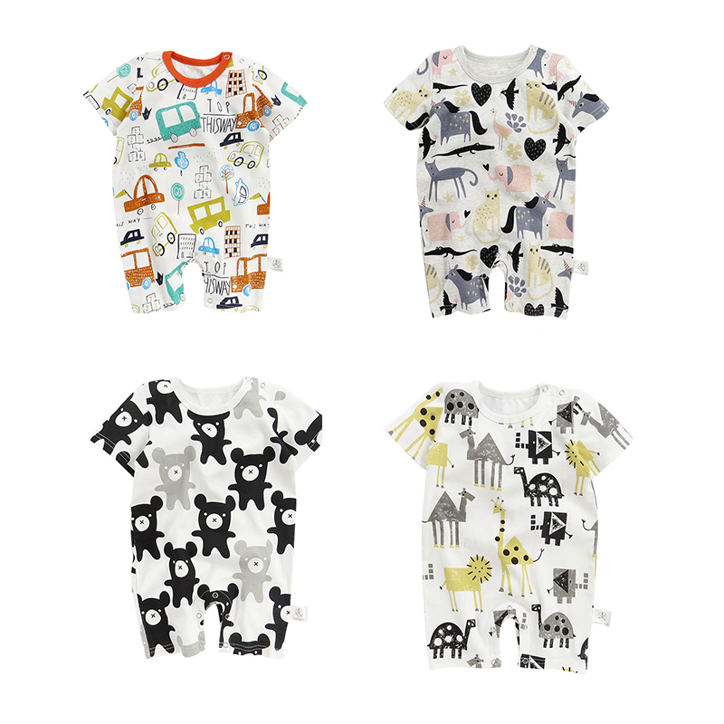 Newborn baby onesies summer men and women baby short-sleeved cotton baby summer infant jumpsuit bodysuits the spring and summer of 2018 newborn baby clothes jumpsuit romper cotton short sleeved