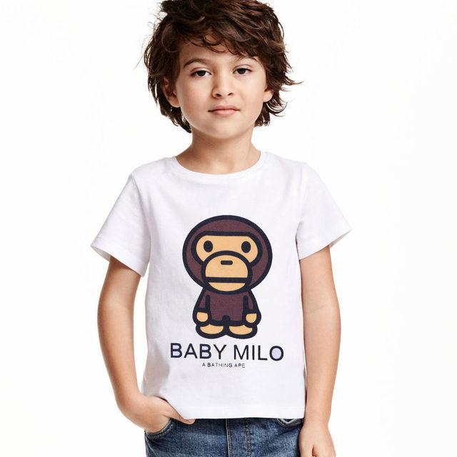 2017 Verão Bebê Milo crianças Roupas Para Meninos Moda T Manga da camisa T-shirt Para Os Meninos Roupas Crianças t-shirts Criança topos