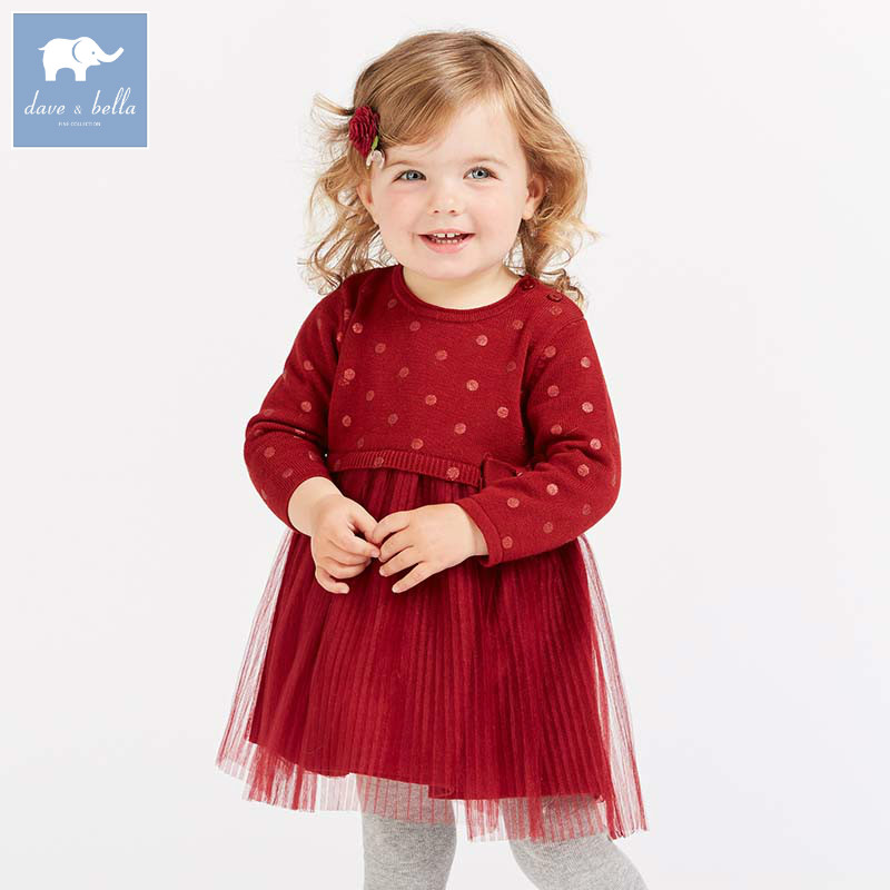 DB8845 dave bella baby Knitted Dress girls long sleeve autumn dresses kids mesh clothes children birthday party boutique dress цена