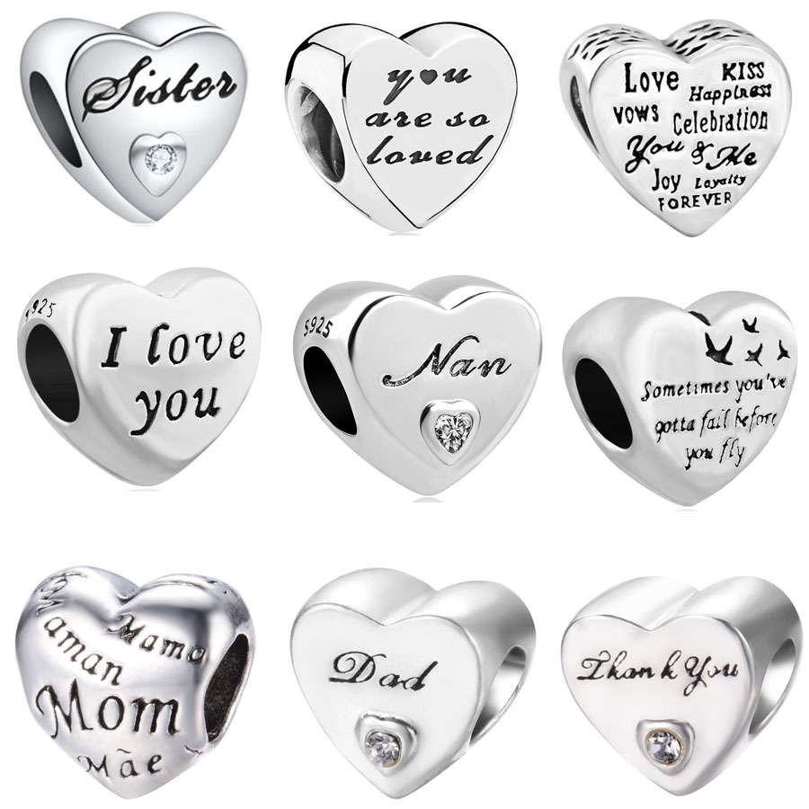 Silver Plated Love Family Mom Dad European Slide Bead Charm fits Charm Bracelets
