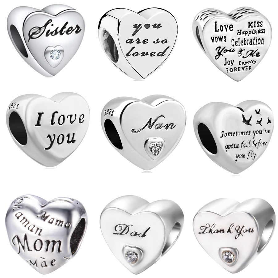 2018 nuevo envío gratis europeo 1 pc 925 corazón de plata te amo mamá hermana papá diy cuenta fit pandora pulsera de encanto de F020