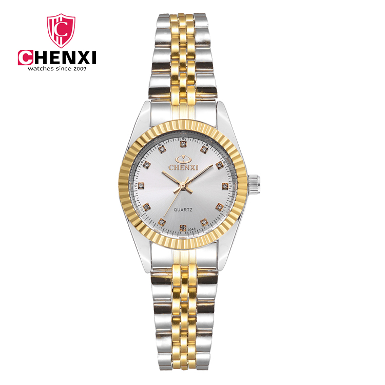 Fashion CHENXI Golden New Clock gold  Woman Luxury Full Stainless Steel Quartz watches WristWatch Wholesale Gold Lady Gift Watch fashion golden snitch pocket watch stainless steel with necklace chain quartz clock for young people best gift