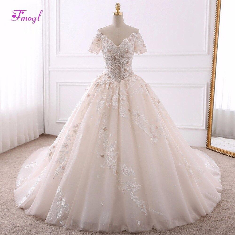Fmogl Vestido de Noiva Appliques Chapel Train Ball Gown Wedding ... 570150e48b7b