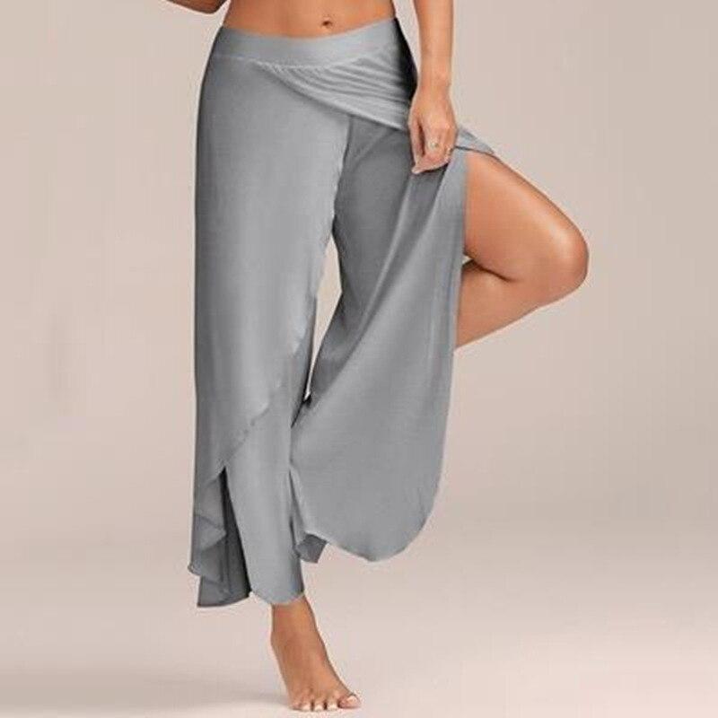Lasperalplus حجم السراويل النساء أزياء الصلبة عالية الخصر واسعة الساق السراويل مثير غير النظامية الجانبية سبليت بنطلون السببية sweatpants فضفاضة