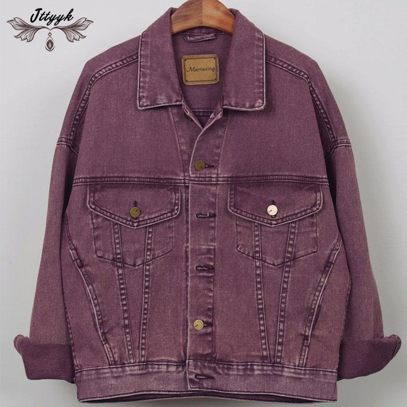 Spring Denim Jacket Women 2018Loose Plus size Jeans Casual Coat Female Short Autumn Vintage motorcycle jacket
