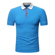 Polo mens cotton short-sleeved polo shirt large size S-3XL white-collar stitching multi-color