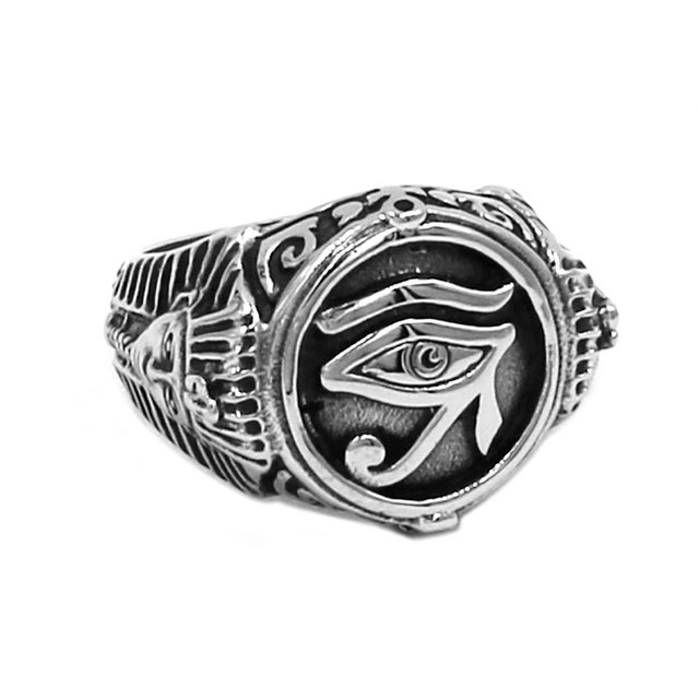 Egyptian Eye of Horus Ra Udjat Amulet Ring Stainless Steel Egypt Pharaoh King Motor Biker Mens Women Ring Wholesale SWR0741A