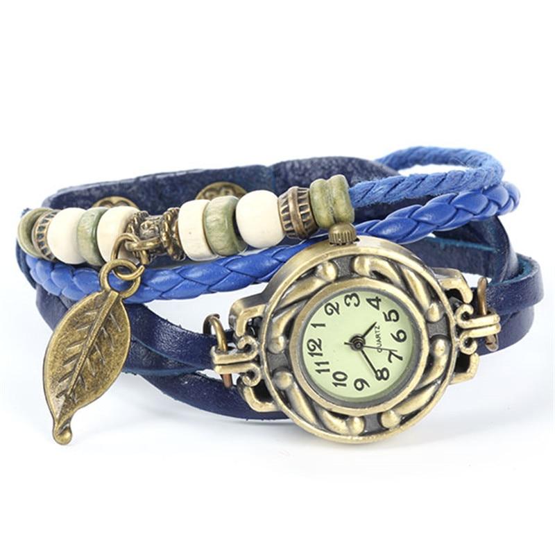 Relojes Söt Kvinnor Relogio Digital Vävt Blad Läderarmband Klocka Kvarts Armbandsur