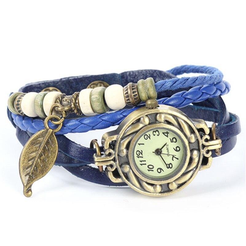 New Summer Style Relojes Cute Women Relogio Digital Woven Leaves Leather Bracelet Watch Quartz Wrist Watches