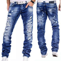 Европейский Американский Стиль 2016 мода марка Синий мужчин джинсы люкс мужская повседневная джинсовые брюки Отверстие Тонкий Прямой джинсы мужчины