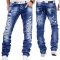 Europeu Estilo Americano 2016 calças de brim dos homens marca de moda Azul denim calças Buraco Fino jeans Reta ocasional dos homens de luxo para homens