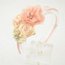10 цветов, повязка на голову с розами, детская повязка для волос, шифон, цветок, эластичная резинка для волос, стразы, повязки на голову, аксессуары для волос для девочек