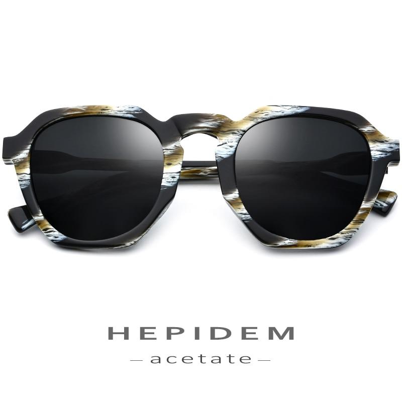 HEPIDEM Acetate Polarized Sunglasses Women 2019 New Vintage Retro Round Sun Glasses For Women Brand Design Big Oversize Sunglass